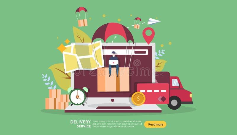Service de distribution en ligne E r illustration de vecteur