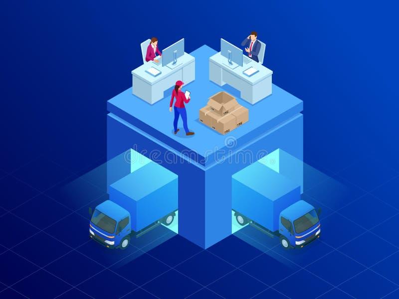 Service de distribution isométrique Fourgon de livraison et homme de paquet Illustration plate de vecteur de style illustration stock