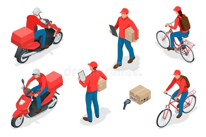 Service de distribution ou concept isométrique de messagerie Travailleurs ou messager de la livraison Illustration de vecteur illustration libre de droits