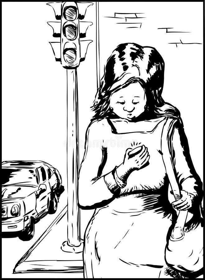Service de mini-messages de femme et rue de croisement illustration libre de droits