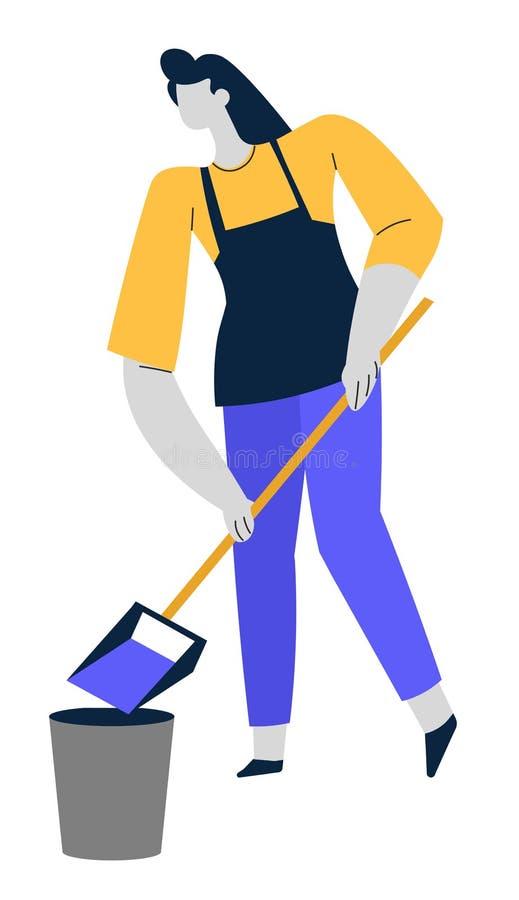 Service de nettoyage, femme avec le scoop et seau, plancher de balayage illustration stock