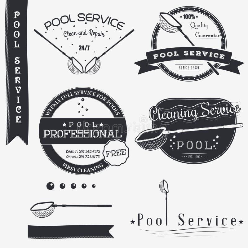 service de regroupement Nettoyez et réparez Ensemble d'éléments typographiques de conception d'insignes, boîte à outils de concep photographie stock