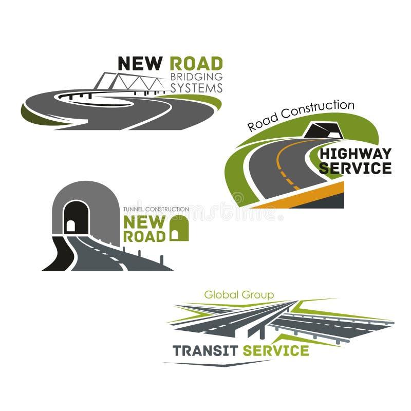 Service de route, pont ou icônes de vecteur de perçage d'un tunnel illustration stock