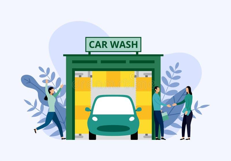 Service de station de lavage, nettoyage automatique, concept d'affaires illustration de vecteur