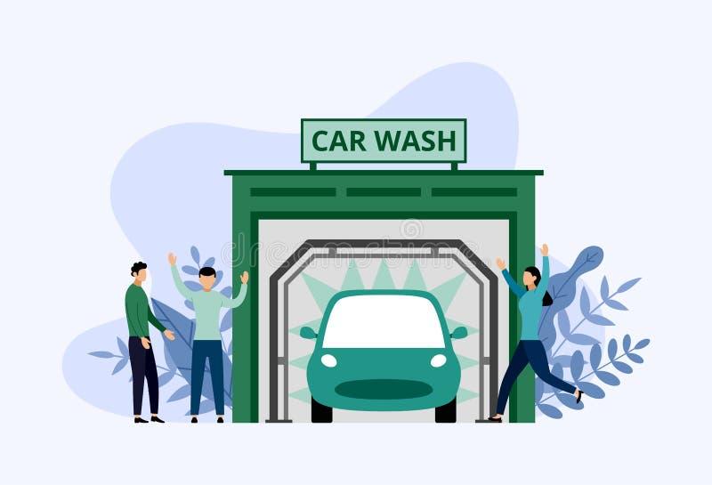 Service de station de lavage, nettoyage automatique, concept d'affaires illustration stock
