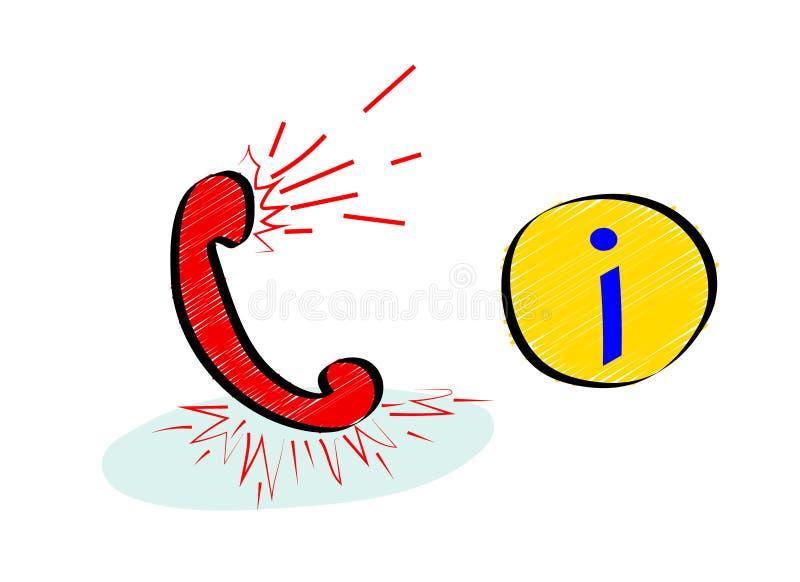 Service de support de l'information Ligne directe ou concept d'icône de centre d'appels avec le combiné illustration de vecteur