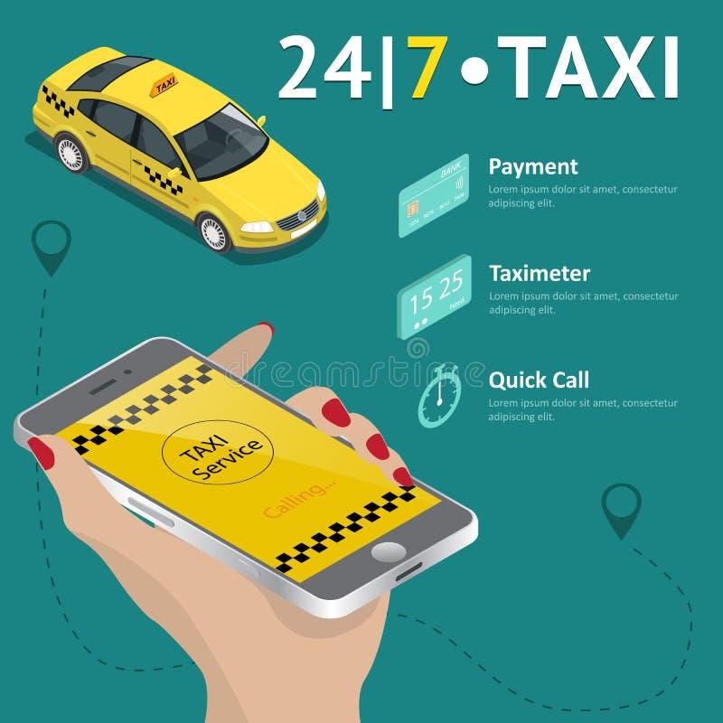 Service de taxi Ensemble mobile de calibre du taxi APP Smartphone et écran tactile, carte et indicateur, navigation de généralist illustration stock