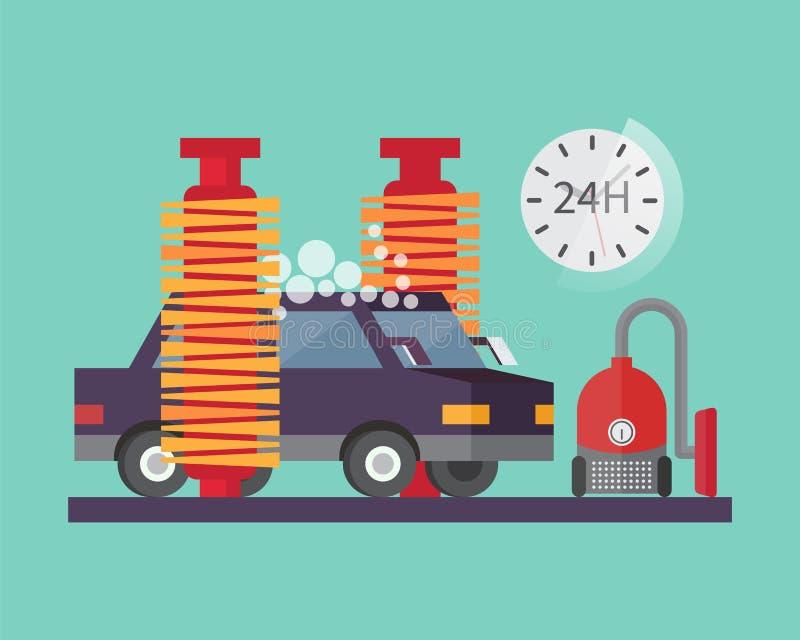 Service de véhicule Lavage et nettoyage automatiques de transport illustration de vecteur