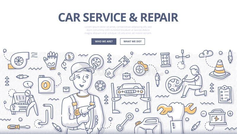Service de voiture et concept de griffonnage de réparation illustration libre de droits