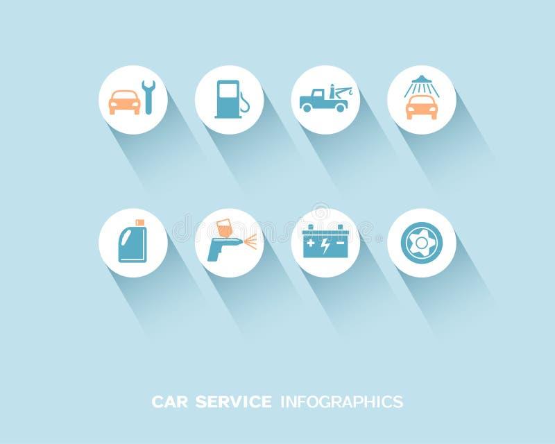 Service de voiture infographic avec les icônes plates réglées illustration de vecteur