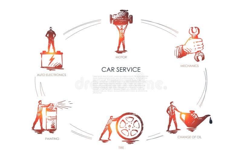 Service de voiture - l'électronique automatique, peinture, pneu, vidange d'huile, mécanique, ensemble de concept de vecteur de mo illustration stock