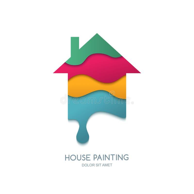 Service, dekor och reparation för husmålning Vektorlogodesign vektor illustrationer