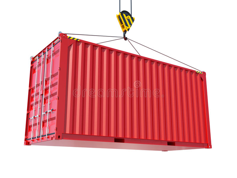 Service delivery - red cargo container. Hoisted by hook. 3D rendering stock illustration