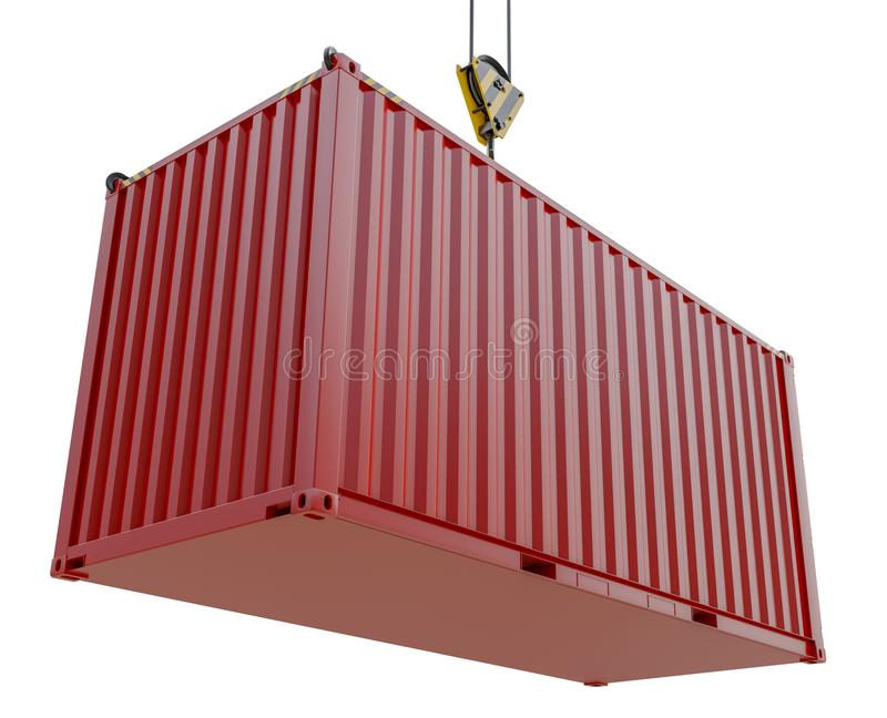 Service delivery - red cargo container hoisted by hook. 3D rendering vector illustration
