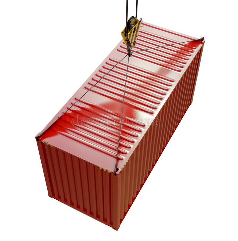 Service delivery - red cargo container hoisted by hook. 3D rendering royalty free illustration