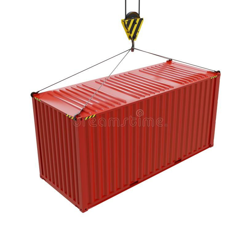 Service delivery - red cargo container hoisted by hook. 3D rendering stock illustration