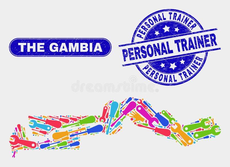 Service den Gambia översikten och att bedröva den personliga instruktören Stamp Seals stock illustrationer