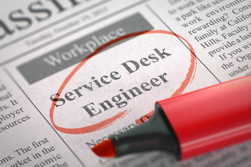 Service Desk Engineer Wanted. 3D. Stock Photo - Image of open ...