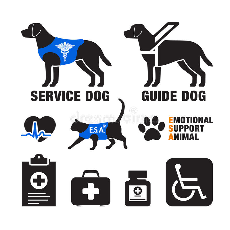 Service dogs and emotional support animals emblems. With health care related icons stock illustration