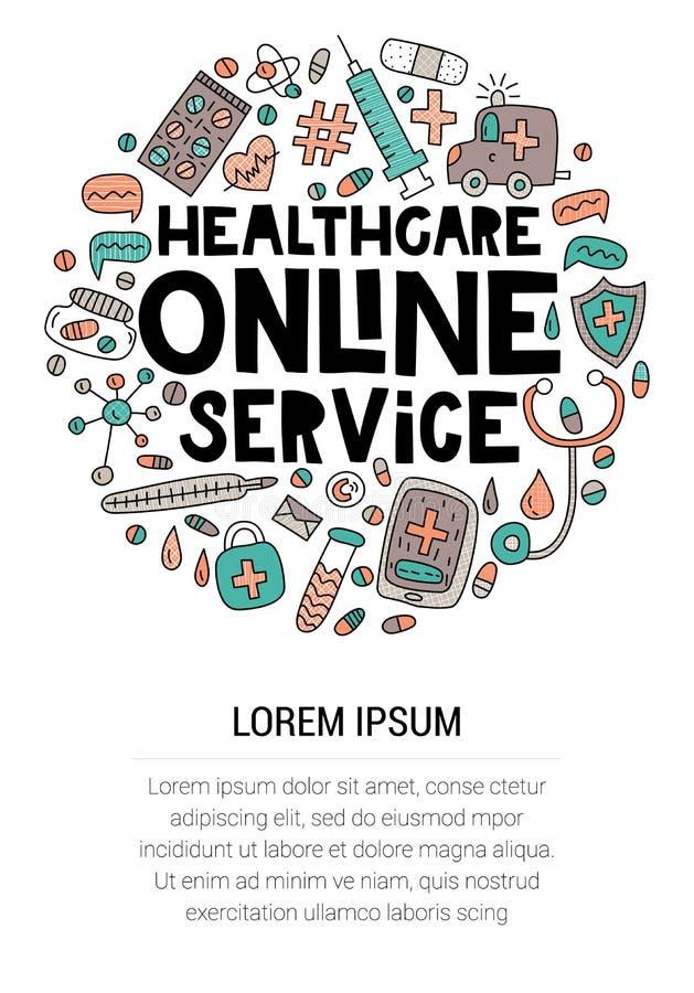 Service en ligne de soins de santé Inscription avec des griffonnages dans la forme de cercle photos libres de droits