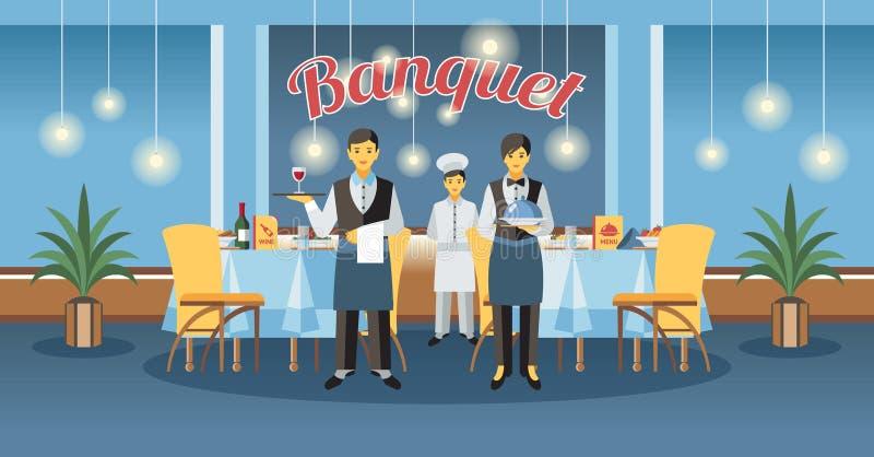 Service et banquet de approvisionnement Illustration de vecteur illustration de vecteur