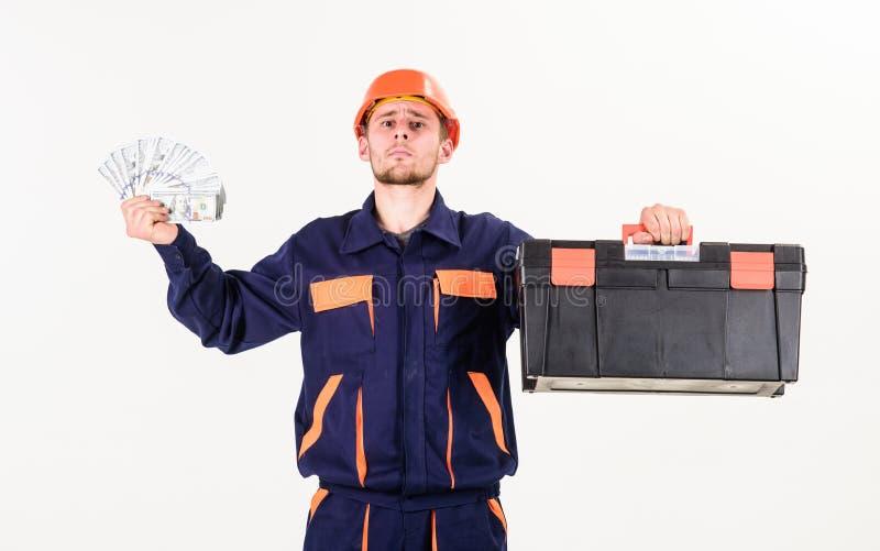 Service et concept de paiement L'homme avec la boîte à outils a obtenu le salaire, argent image libre de droits