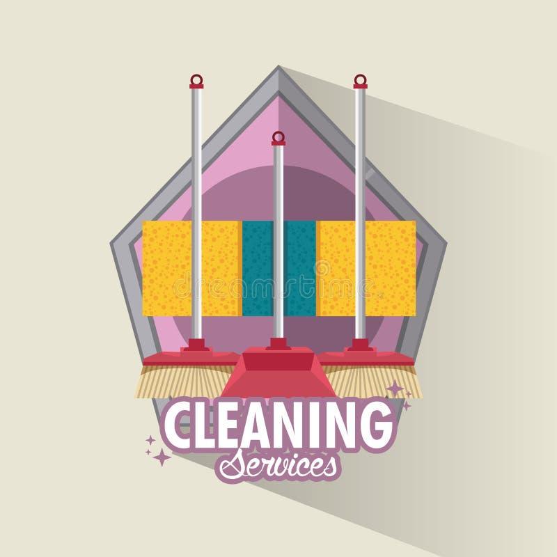 Service et ménage de nettoyage illustration de vecteur