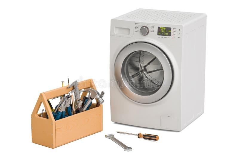 Service et réparation de concept de machine à laver rendu 3d illustration libre de droits