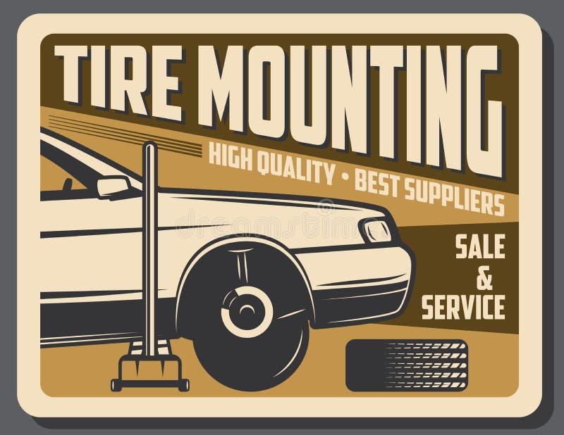 Service et vente de voiture de support de pneu illustration stock