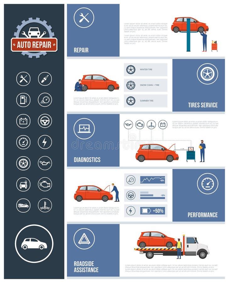 Service för auto reparation stock illustrationer