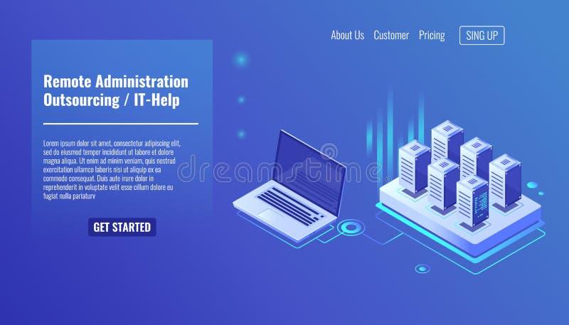 Service för avlägsen administration som lägger ut begrepp, det hjälp, serverrumkugge, isometrisk vektor för databasfråga vektor illustrationer