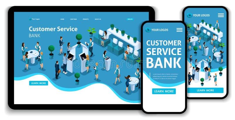 Service för conceptcustomer för sida för Websitemalllandning isometrisk i banken, servicekorridor, bankclints royaltyfri illustrationer