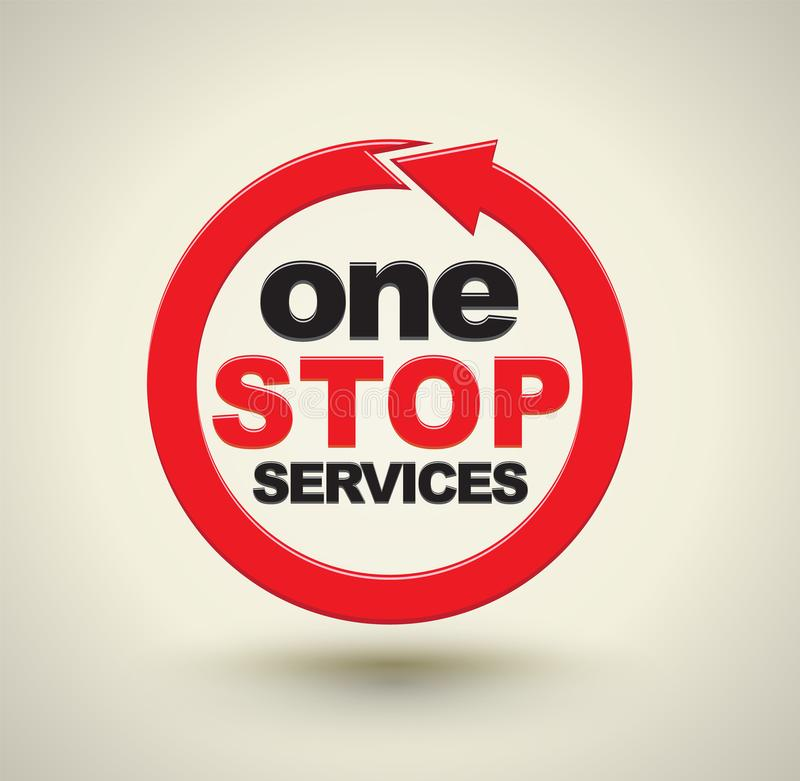 Service för ett stopp med den röda pilcirkeln royaltyfri illustrationer