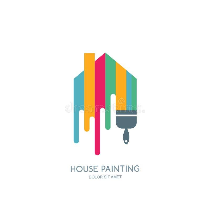 Service för husmålning, dekor och flerfärgad symbol för reparation Vektorlogo, etikett, emblemdesign stock illustrationer