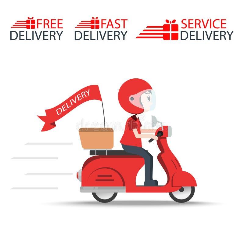 Service för leveransrittmotorcykeln, beställer världsomspännande sändnings som är snabb och transporterar fritt, uttrycklig mat,  stock illustrationer