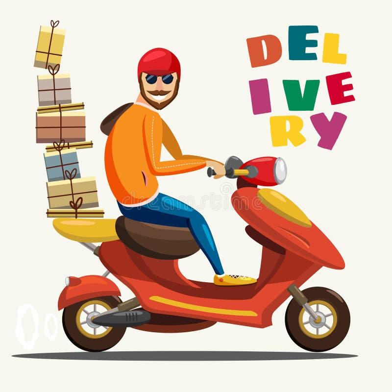 Service för motorcykeln för sparkcykeln för ritten för leveranspojken, beställning, världsomspännande sändnings som är snabba och royaltyfri illustrationer