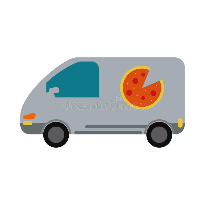 Service för skåpbil för pizzaleveransbil royaltyfri illustrationer