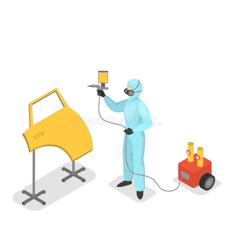 service för utbyte för bunkebilelevator lyftolja Arbetarmålarfärgdörr av medlet vektor illustrationer