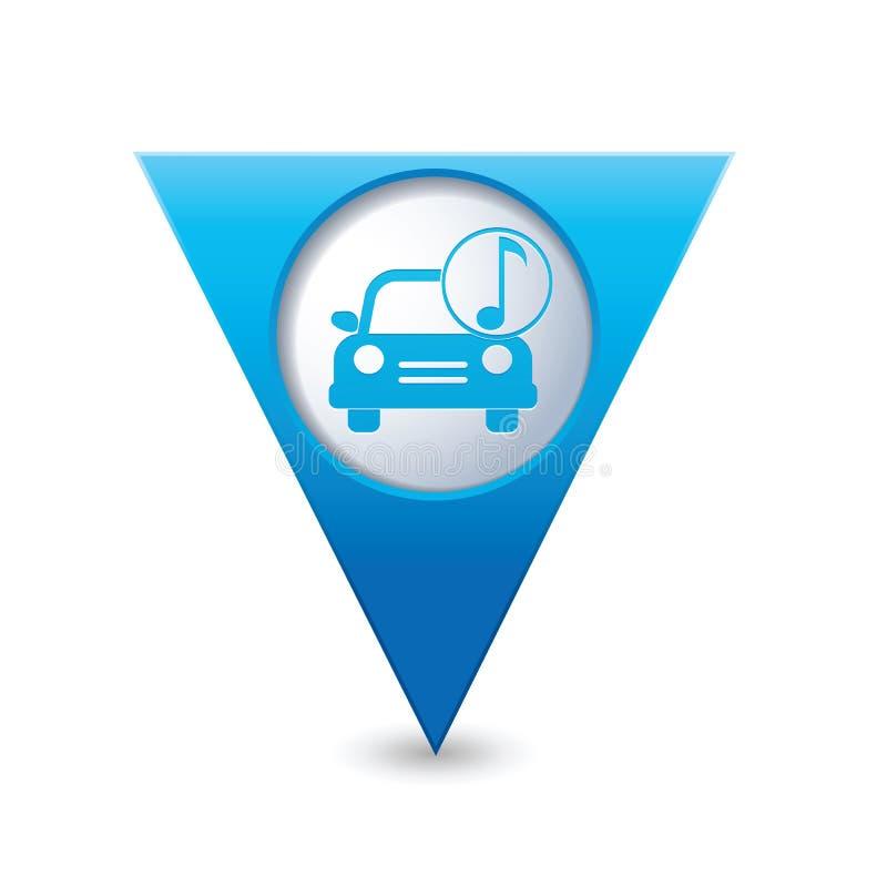 service för utbyte för bunkebilelevator lyftolja Bil med musiksymbolen på gul översiktspekare royaltyfri illustrationer