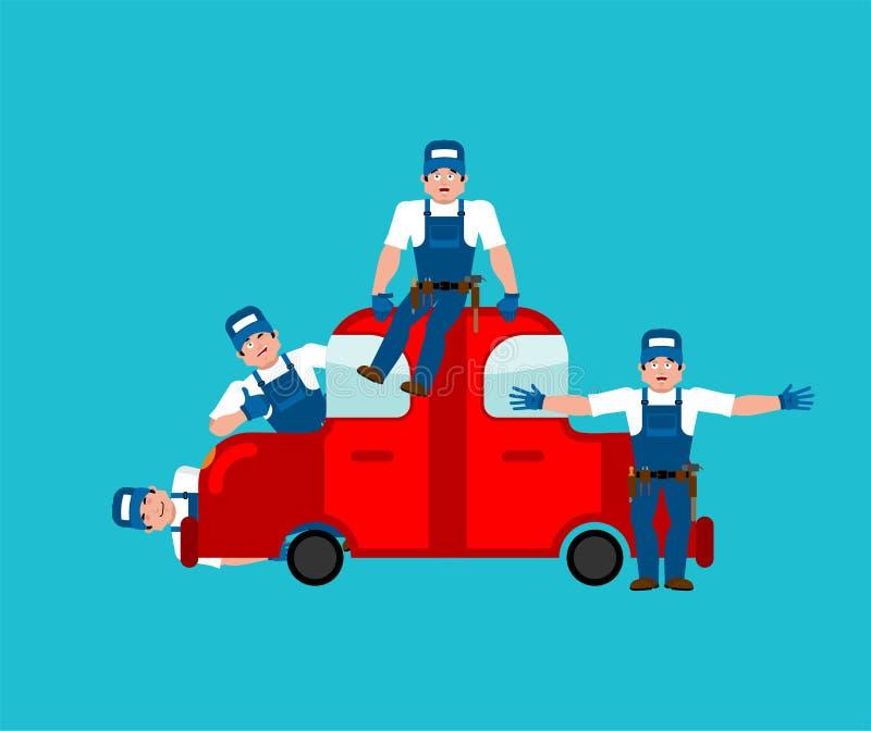 service för utbyte för bunkebilelevator lyftolja Bil och mekaniker också vektor för coreldrawillustration stock illustrationer