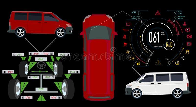 service för utbyte för bunkebilelevator lyftolja buss Digital automatisk instrumentbräda av en modern bil Grafisk skärm, diagnost stock illustrationer
