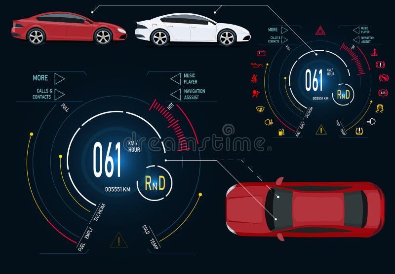 service för utbyte för bunkebilelevator lyftolja Digital automatisk instrumentbräda av en modern bil Grafisk skärm, diagnostik il royaltyfri illustrationer