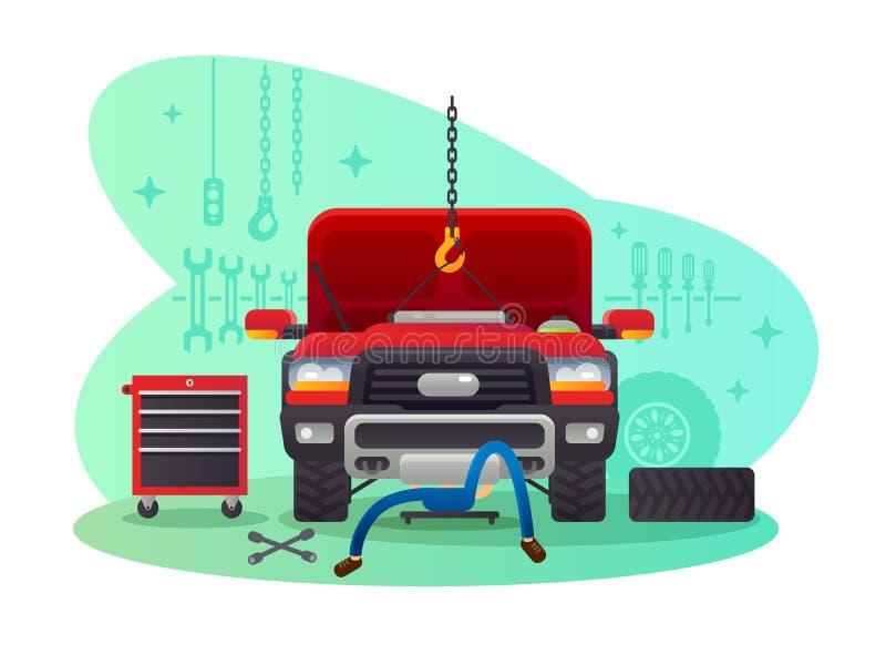 Service, garage et atelier de voiture illustration de vecteur