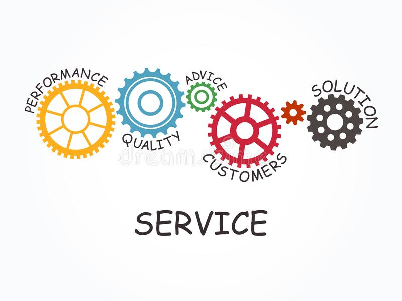 Service with gear concept. Vector illustration. stock illustration