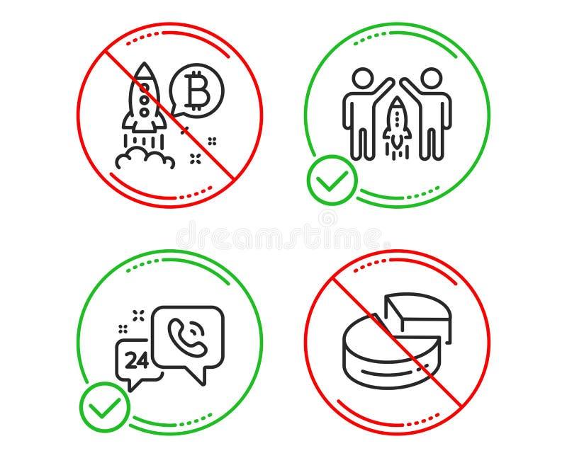 service 24h, ensemble d'ic?nes de projet d'association et de Bitcoin Signe de graphique circulaire Vecteur illustration stock