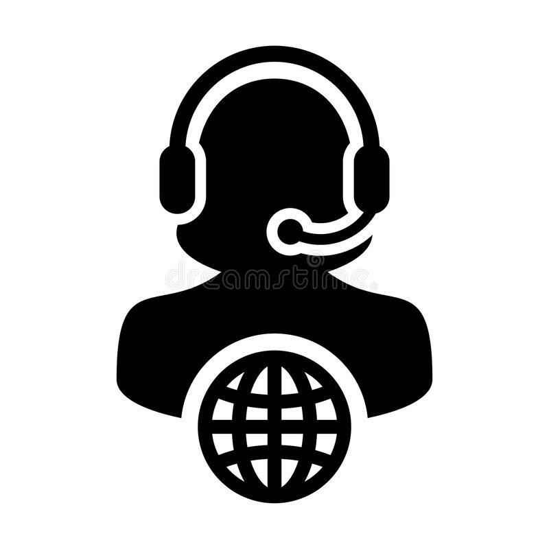 Service icon vector female customer care person profile symbol with headset for internet network online support. In glyph pictogram illustration vector illustration