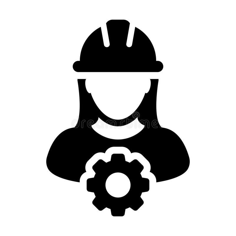 Service Icon Vector Female Person Worker Avatar Profile with Gear. Cog Wheel for Engineering Support and with Hard Hat in Glyph Pictogram Symbol illustration vector illustration