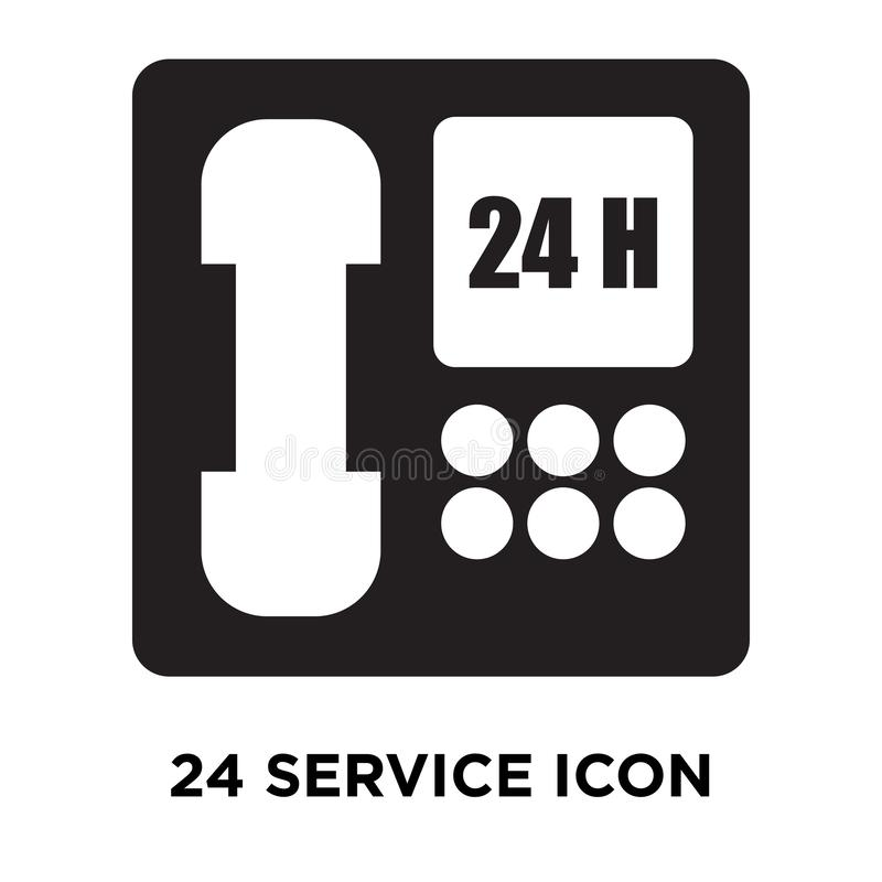 24 Service icon vector isolated on white background, logo concept of 24 Service sign on transparent background, black filled. 24 Service icon vector isolated on royalty free illustration