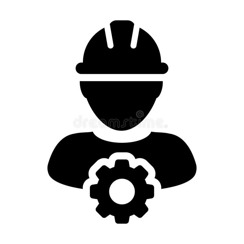 Service Icon Vector Male Person Worker Avatar Profile with Gear in Glyph Pictogram illustration Symbol vector illustration