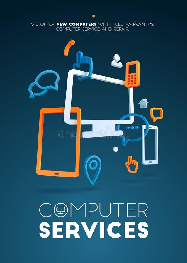 Service informatique de conception de vue Illustration pour le web design, le développement d'applications, les services et les c illustration stock